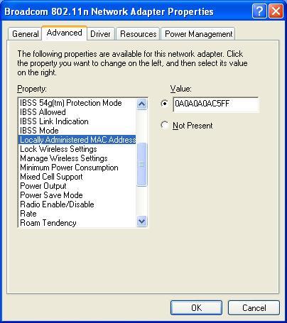 change a mac address in windows xp