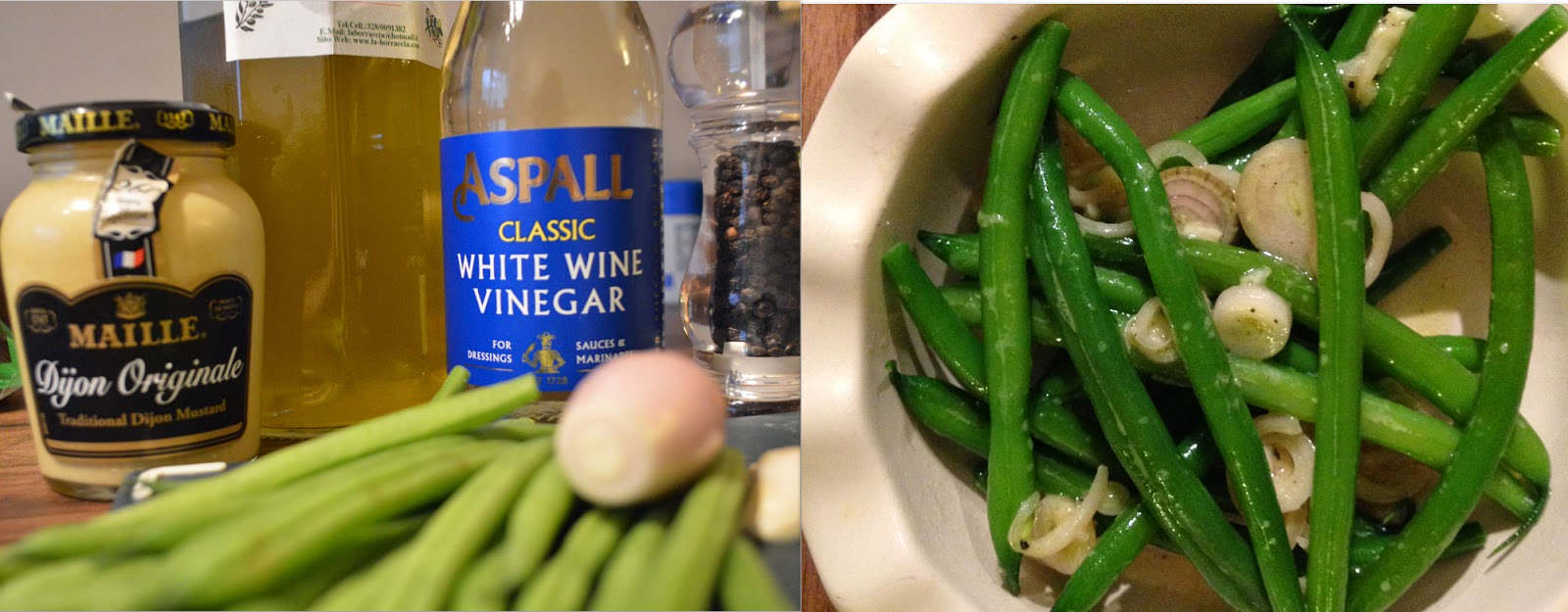 Ingredients for mustard and garlic green beans