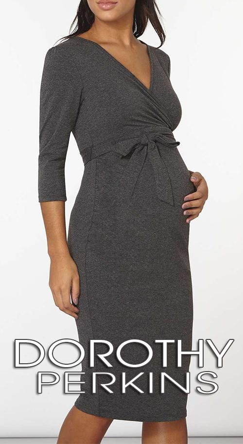 Robe maternité en jersey gris chiné mi longue DOROTHY PERKINS