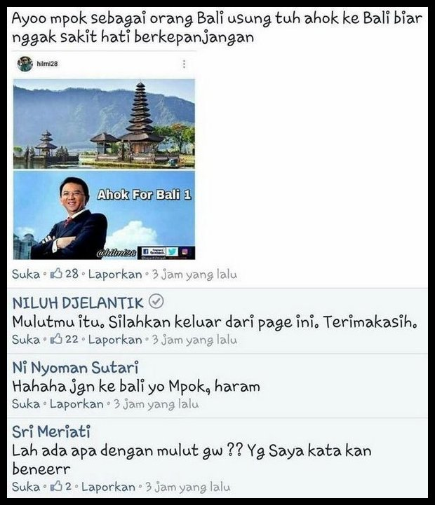 Lucunya Orang Bali, Bangga-Banggain Ahok Tapi Menolak Jadi Gubernur Bali