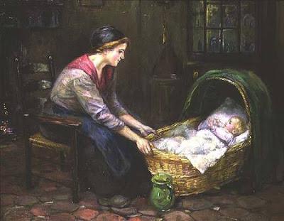 Мать у колыбели. Картина 19 века