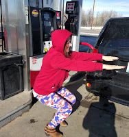 Squats at a gas station