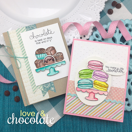 Chocolate and Macaron Cards by Jennifer Jackson | Love & Chocolate stamp set by Newton's Nook Designs #newtonsnook