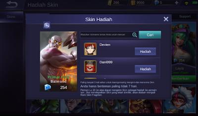 Mengirim Skin ke Teman di mobile legends