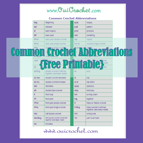 Common Crochet Abbreviations
