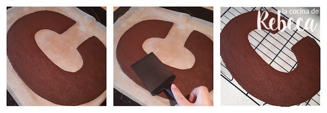 Receta tarta abecedario de chocolate de galleta y crema: enfriado de la masa