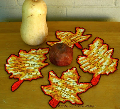 Fall Leaves in Filet Crochet - Set of 4 - Coasters or Decorations - Handmade By Ruth Sandra Sperling of RSS Designs In Fiber