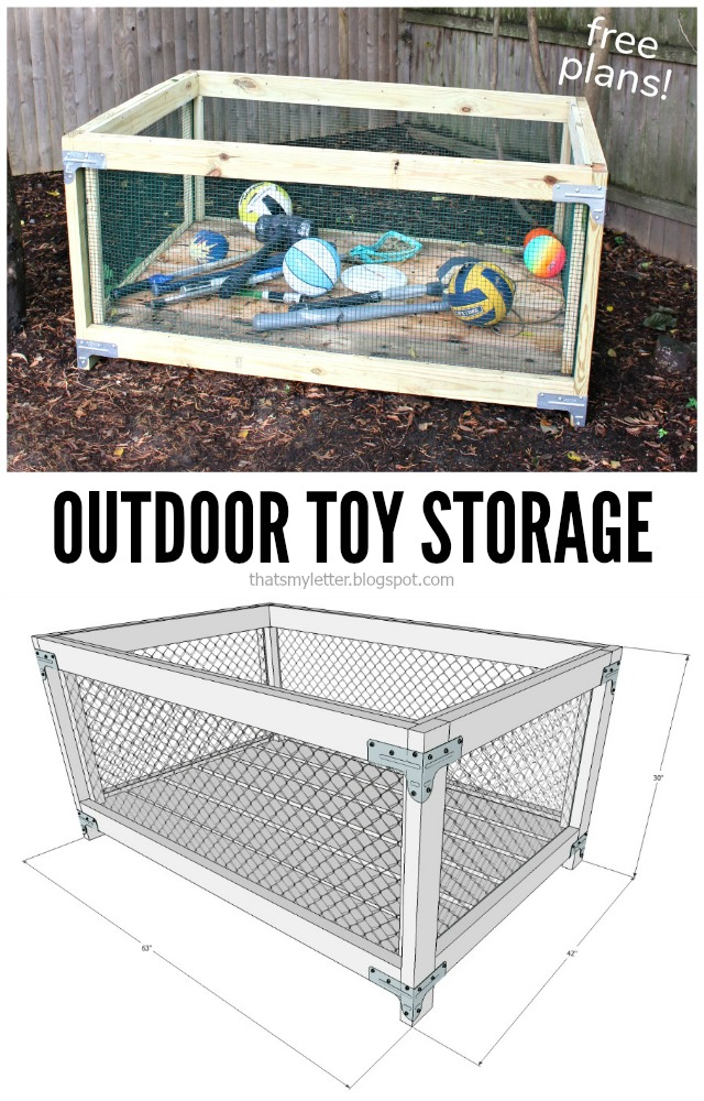 outdoor toy storage bin frame free plans