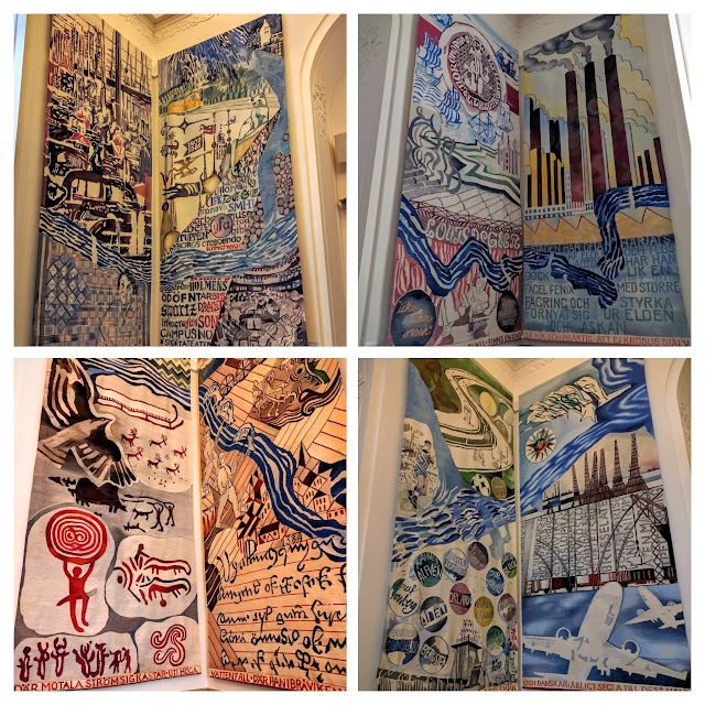 Tapestries highlighting the history of Norrköping inside Norrköpings Rådhus