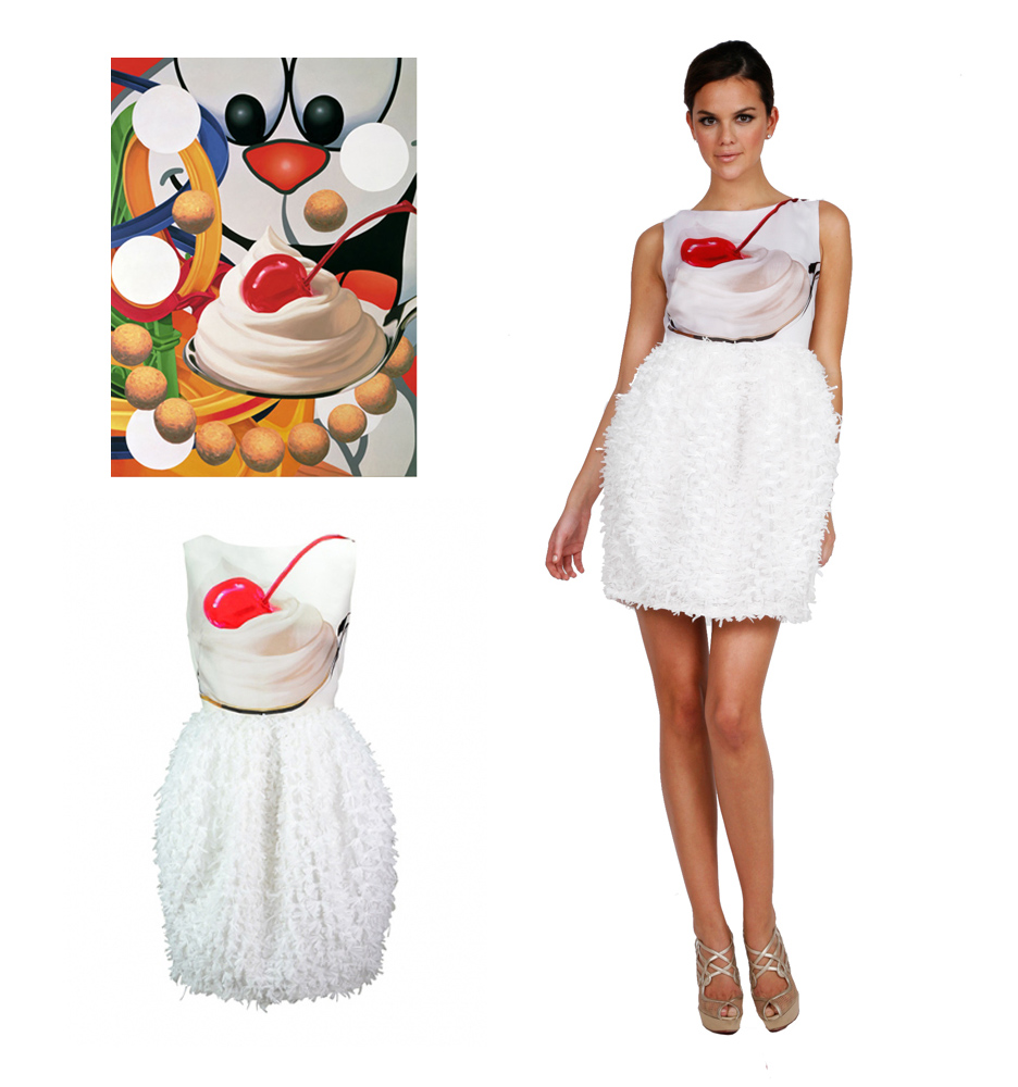 Loopy painting by Jeff Koons and Dress by Lisa Perry