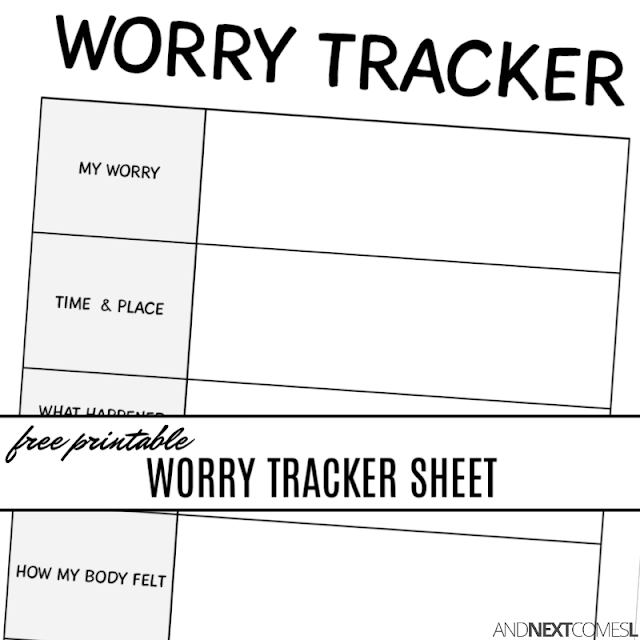 Free printable worry tracker {coping with anxiety worksheets for kids}
