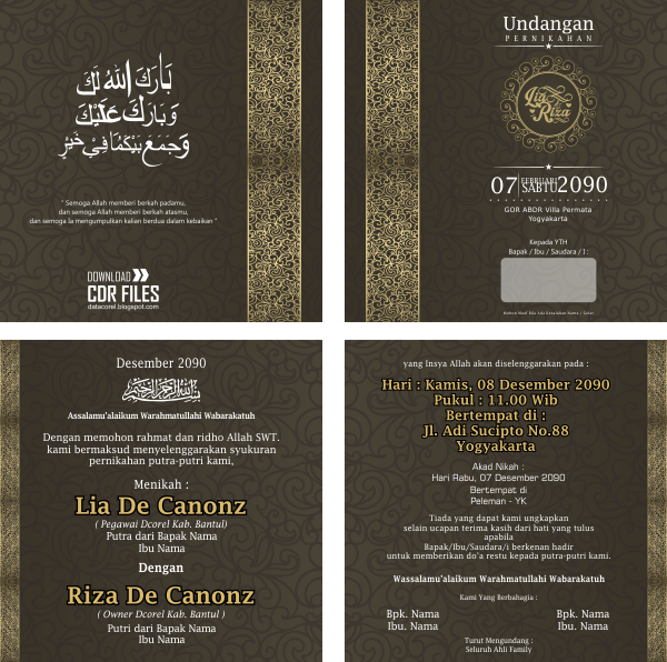 Desain Brosur: Undangan Vintage Gold Template CDR CorelDraw File Free