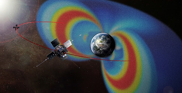 Van Allen Probes circle radiation belts. This artist's rendering of the Van Allen Probes mission shows the path of its two spacecraft through the radiation belts that surround Earth, which are made visible in false color. Credit: NASA