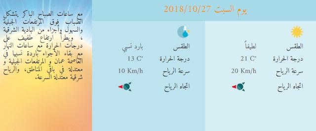 هذه توقعات الطقس في الاردن عمان يوم السبت 2018/10/27