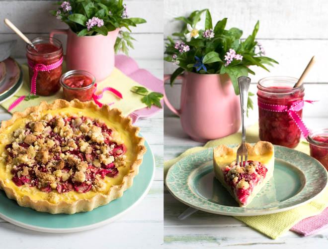 Rhabarber Pudding Streusel Tarte