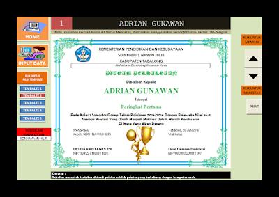 Aplikasi Piagam Penghargaan Cetak Excel