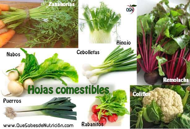 QSN: Hojas de verduras que son comestibles