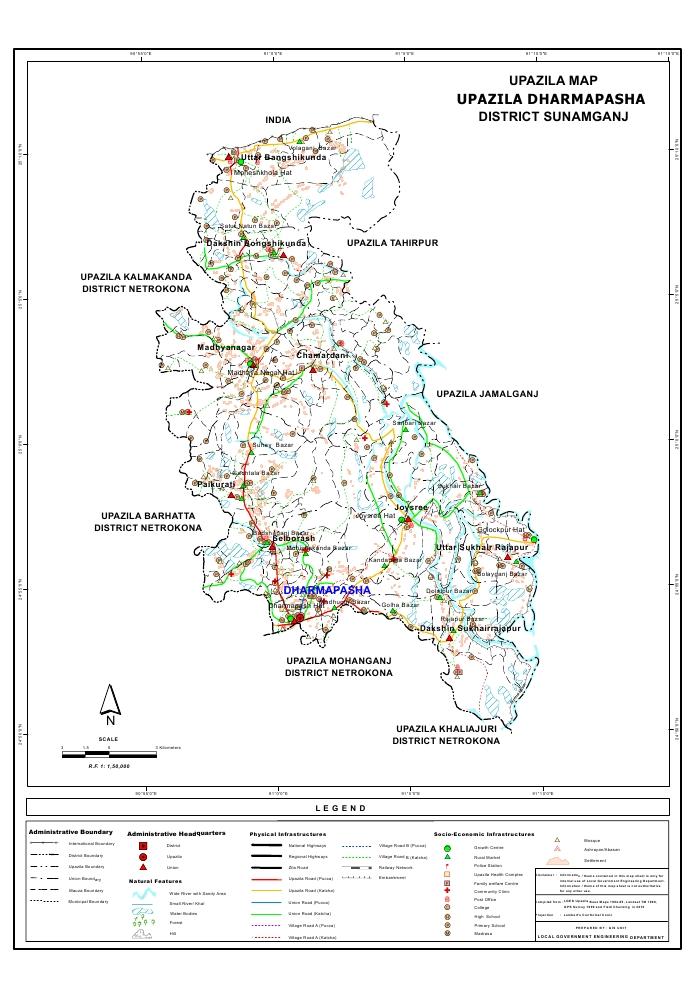 Dharmapasha Upazila Map Sunamganj District Bangladesh