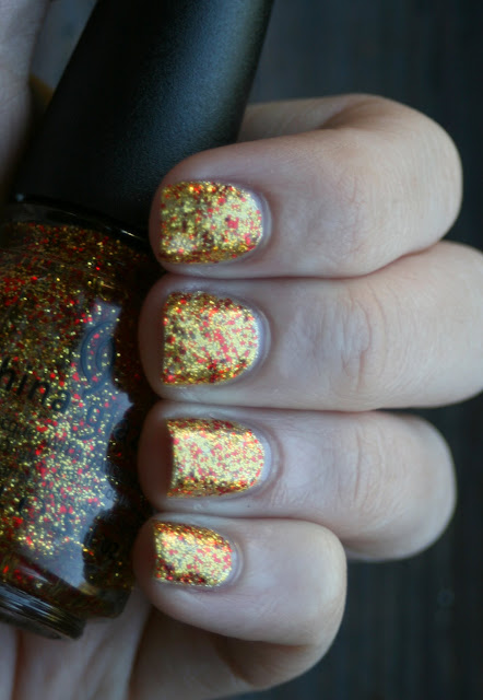 Skinfood Pedicure Sparkle Sun Yellow and China Glaze Electrify swatch