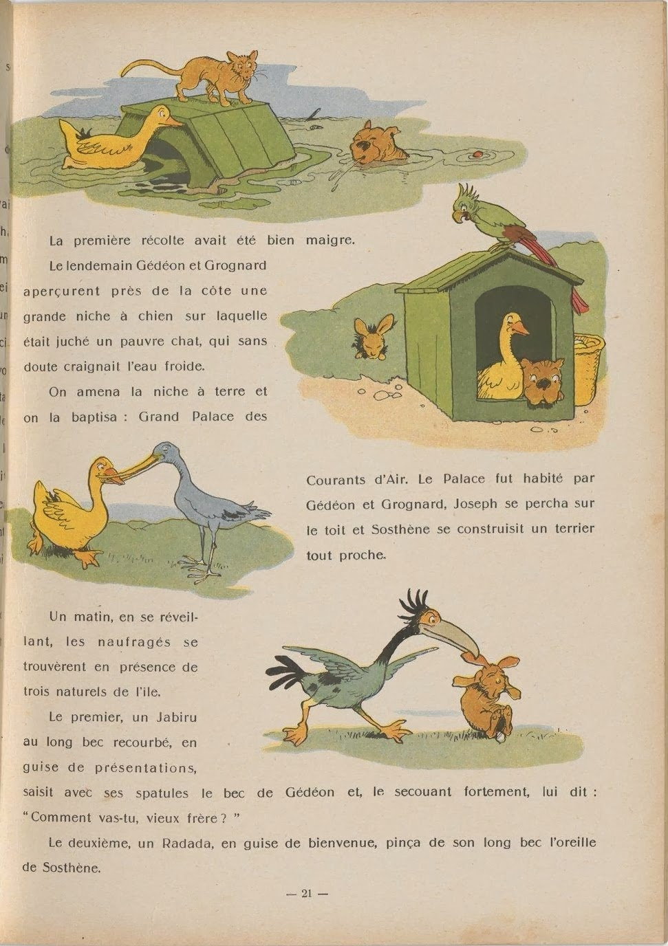 coloured book illustration vignettes of animals behaving as humans (birds mostly)