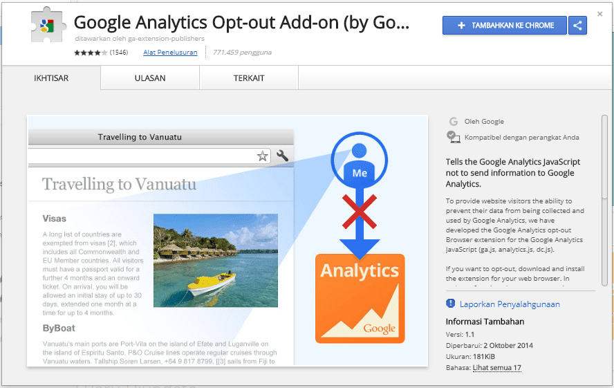 Ekstensi Google Analytics Opt-out