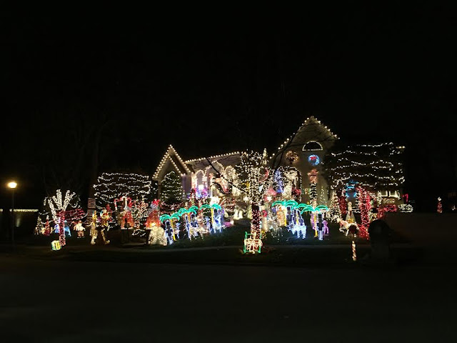 Enormous holiday light display in Medinah Woods Club in Itasca, IL