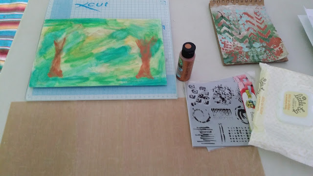 craft room ready for mixed media, art journelling, stencilling, metallic paint, bronze