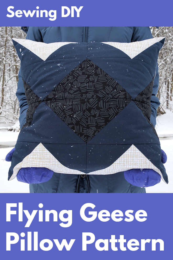 Free sewing pattern! Sew a flying geese block pillow! The free ebook shows you how to make the Spiegel flying geese block pillow — a great sewing DIY project for beginning sewists or anyone interested in quilt-style piecing.