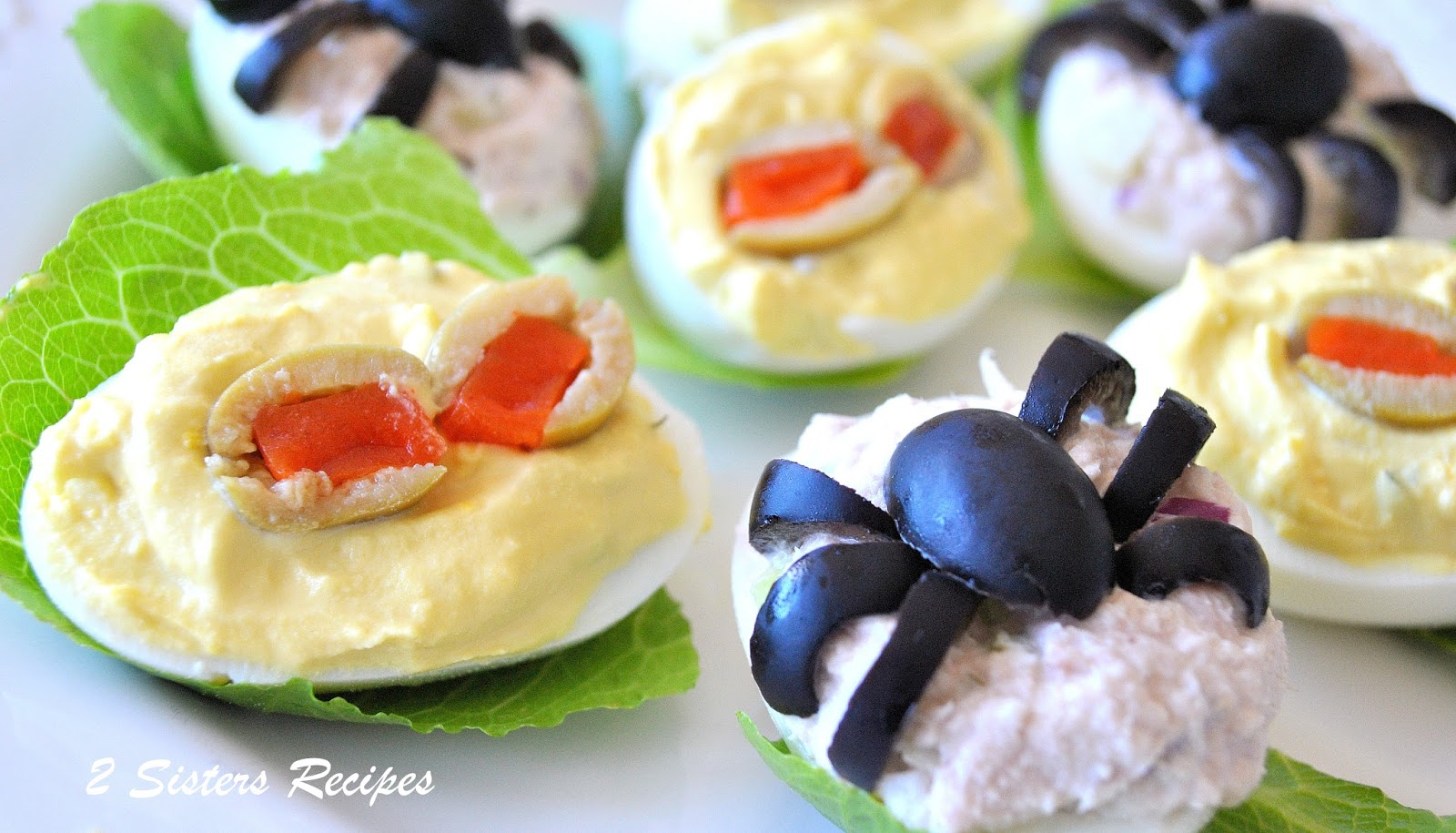 Spooky Deviled Eggs - 2 recipes - 2 Sisters Recipes by Anna and Liz