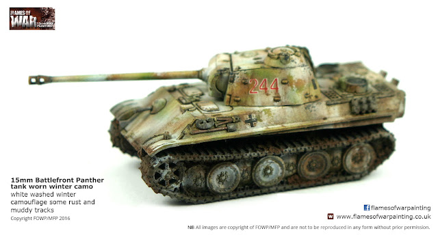15mm Flames of War Battlefront Panther with winter camo. Painted by Flames of War Painting