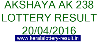 Kerala lottery result, Akshaya Lottery result, Akshay AK-238 lottery result, Todays Akshaya Ak238 Lottery result, Kerala lotteries Akshaya AK 238 result, Kerala Akshaya AK-238 lottery result today 20-04-2016