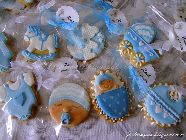 Galletas bautizo blanco y azul