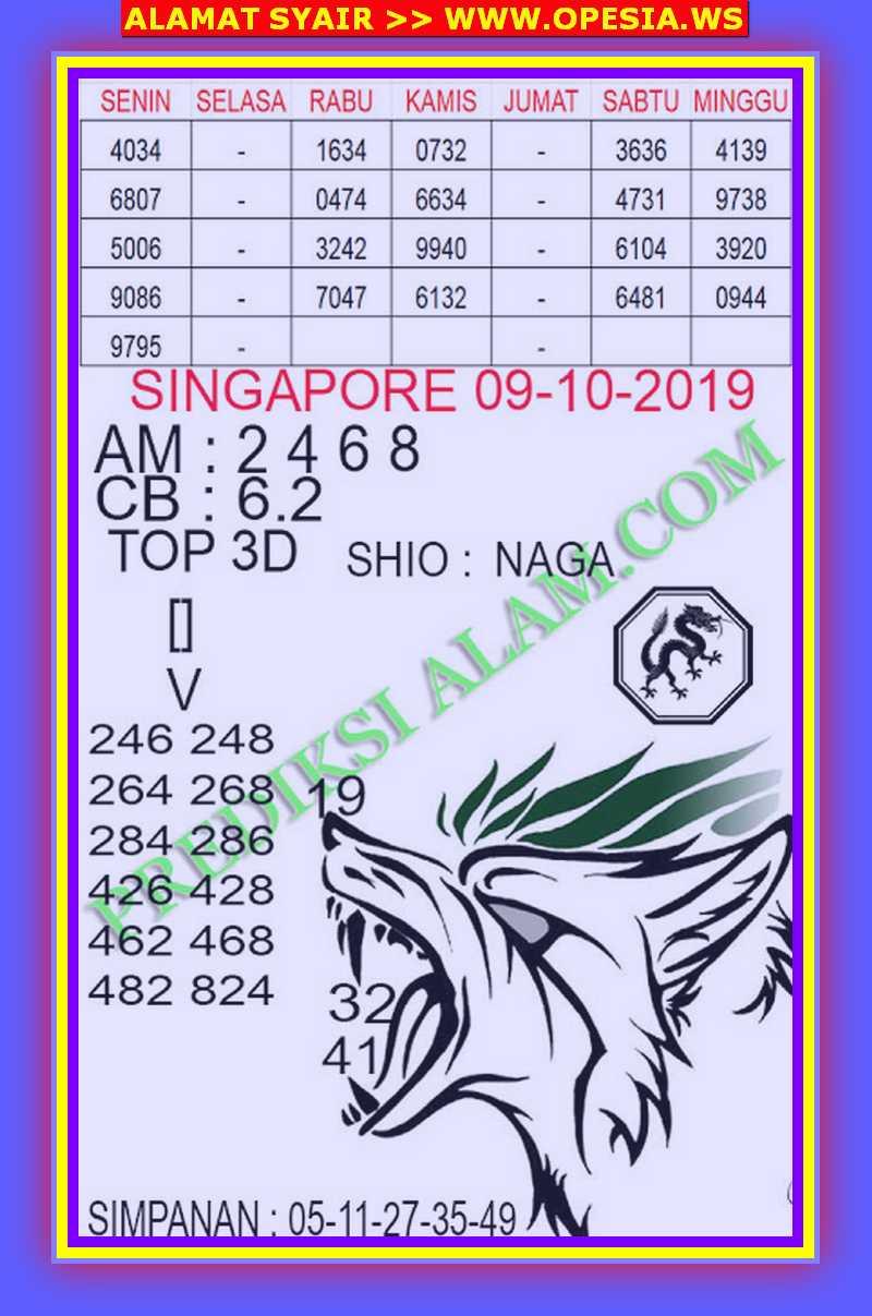 Kode syair Singapore Rabu 9 Oktober 2019 91