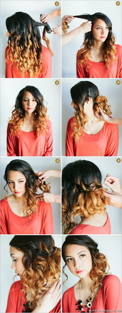 easy hairstyles curly side waterfall