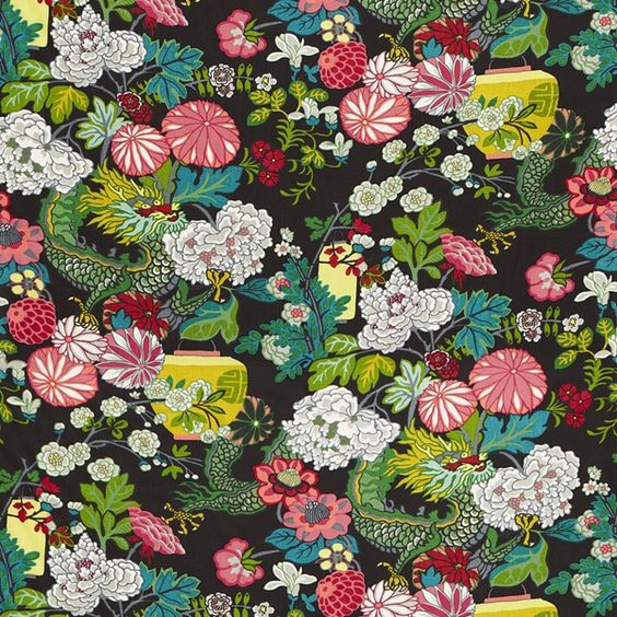 Schumacher Chiang Mai Ebony fabric