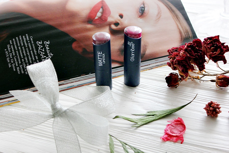 Линия магазинов EVA представляет: ТМ GlamBee матовая помада Matte Lipstick #08 и #15 / обзор, отзывы, свотчи