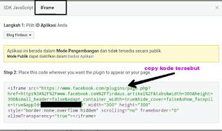 Kode Iframe Widget Fanspage yang harus Anda pasang di blog