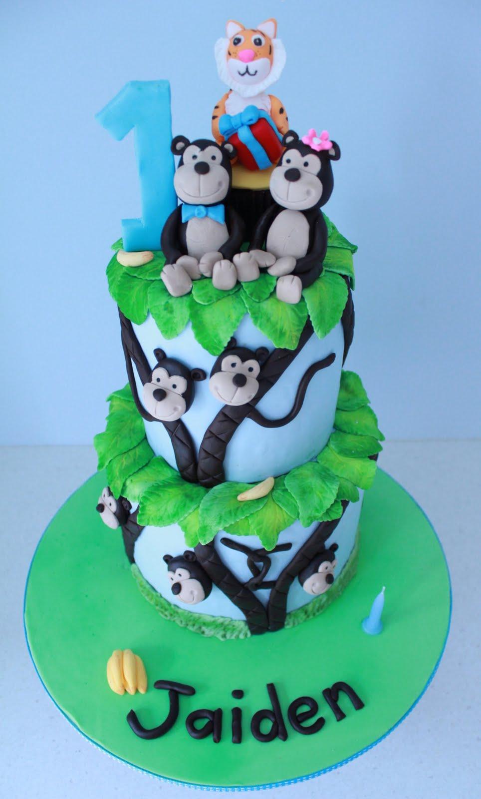 Blissfully Sweet Monkeys Amp Tigers 1st Birthday Cake