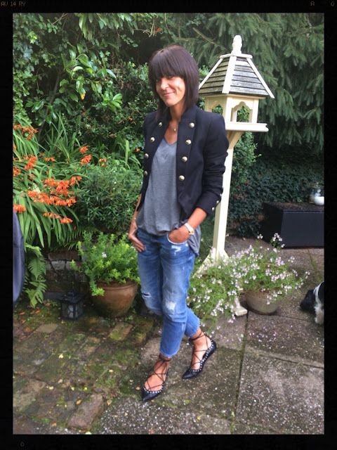 My Midlife Fashion, Grey Marl Tee, Military jacket, distressed denim, ghillie lace ups, zara, mango
