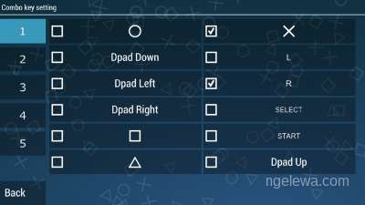 Tampilan untuk set combo key