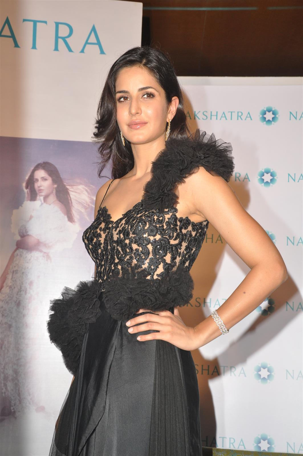 Bollywood Actress Katrina Kaif Beautiful In Black Dress At Shop launch