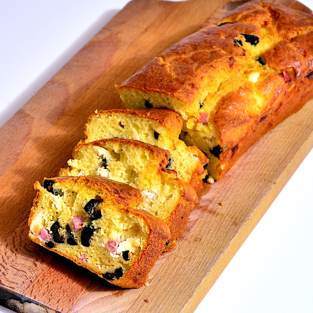 Cake With Olives, Ham and Goat Cheese