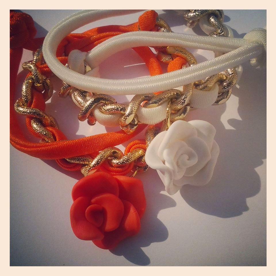 Braccialetti con rose in fimo e lycra