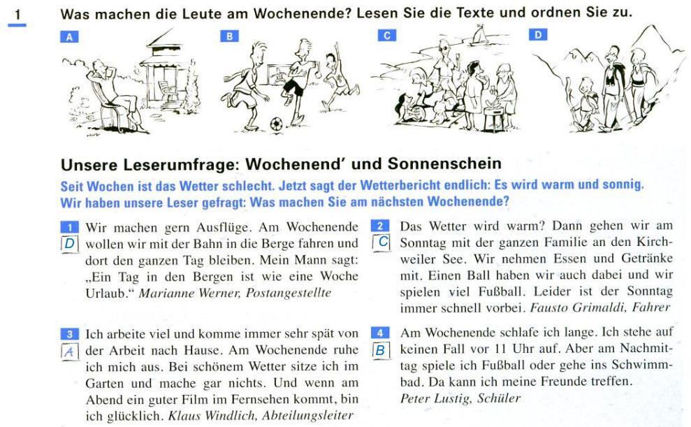 DEUTSCH IV - PORTFOLIO: Arbeitsblatt 1 - 1.4 Lesen Sie.