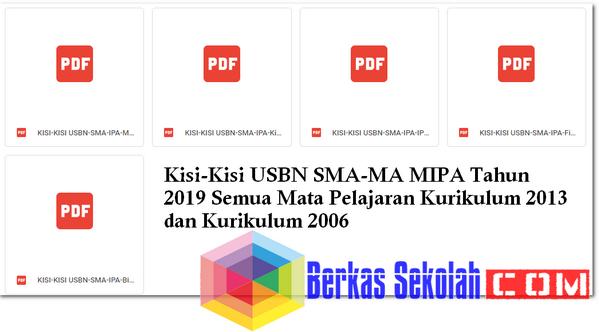 Kisi-Kisi USBN SMA-MA MIPA Tahun 2019