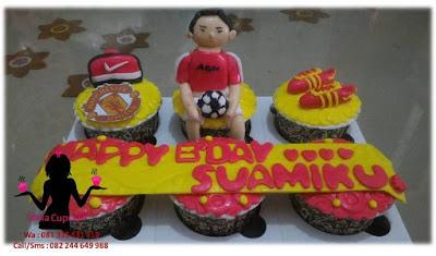 Cupcake Ultah 3d murah buat suami penggemar sepakbola Manchester United
