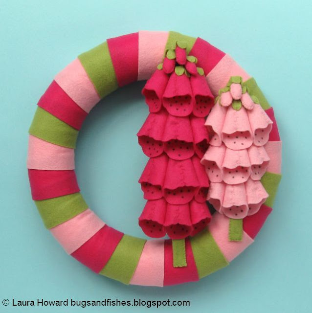 finished felt foxgloves wreath