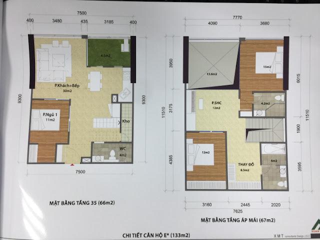 Thiết kế căn hộ 133m2 penthouse kết hợp thông tầng và sân vườn CT1 Eco green city