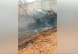 Veículo pega fogo após capotamento na RN 117 entre Encanto e Pau dos Ferros