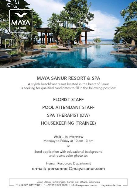 Lowongan kerja Maya Sanur Resort and Spa September 2018